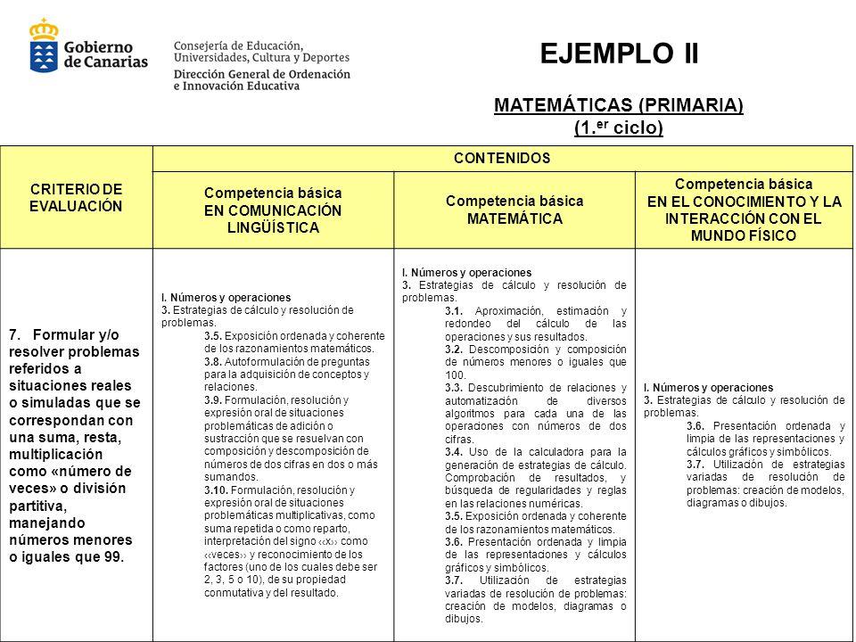 EJEMPLO II MATEMÁTICAS (PRIMARIA) (1.er ciclo)