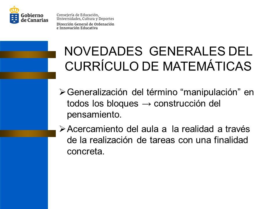 NOVEDADES GENERALES DEL CURRÍCULO DE MATEMÁTICAS