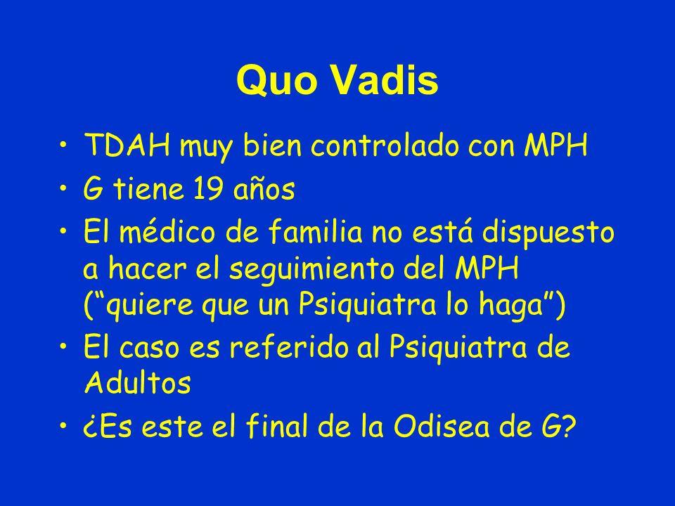 Quo Vadis TDAH muy bien controlado con MPH G tiene 19 años