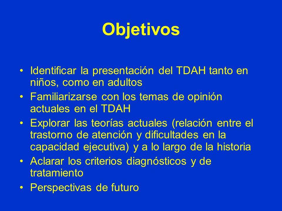 Objetivos Identificar la presentación del TDAH tanto en niños, como en adultos. Familiarizarse con los temas de opinión actuales en el TDAH.
