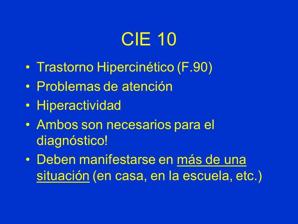 CIE 10 Trastorno Hipercinético (F.90) Problemas de atención