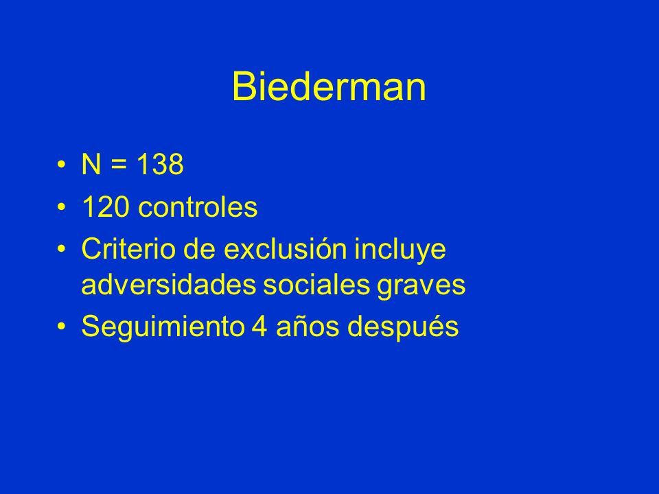 Biederman N = 138 120 controles