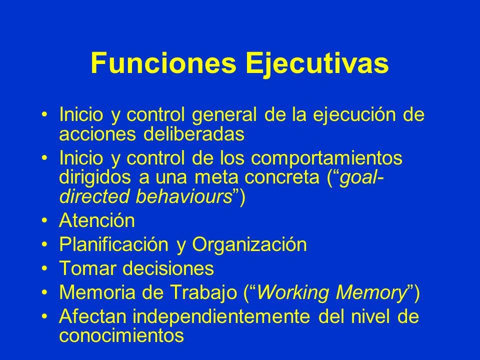 Funciones Ejecutivas Inicio y control general de la ejecución de acciones deliberadas.