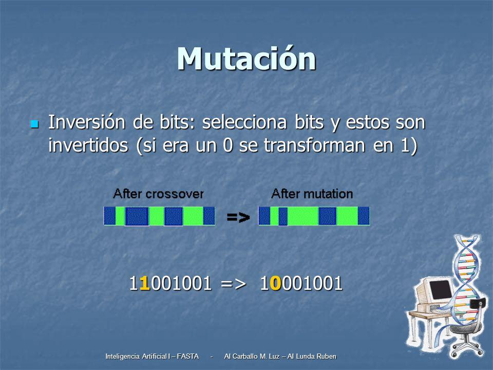 Mutación Inversión de bits: selecciona bits y estos son invertidos (si era un 0 se transforman en 1)