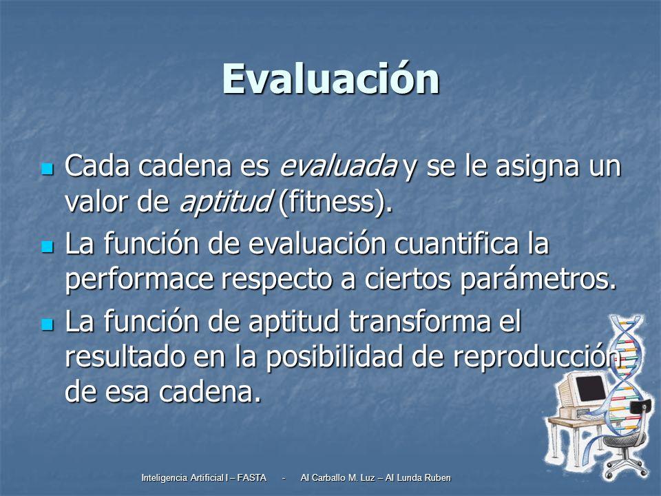 Evaluación Cada cadena es evaluada y se le asigna un valor de aptitud (fitness).