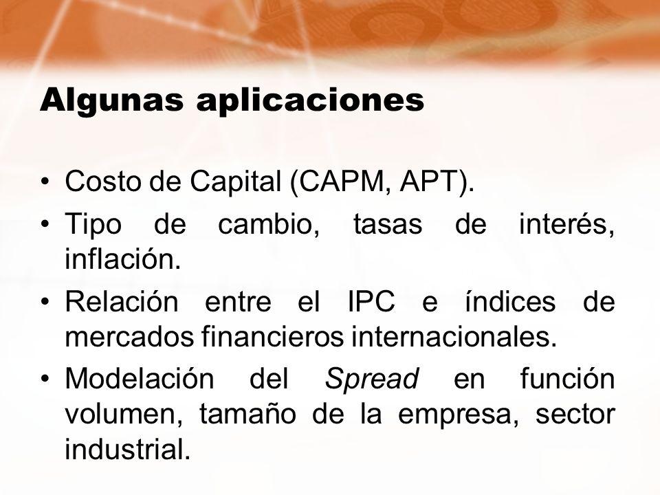 Algunas aplicaciones Costo de Capital (CAPM, APT).