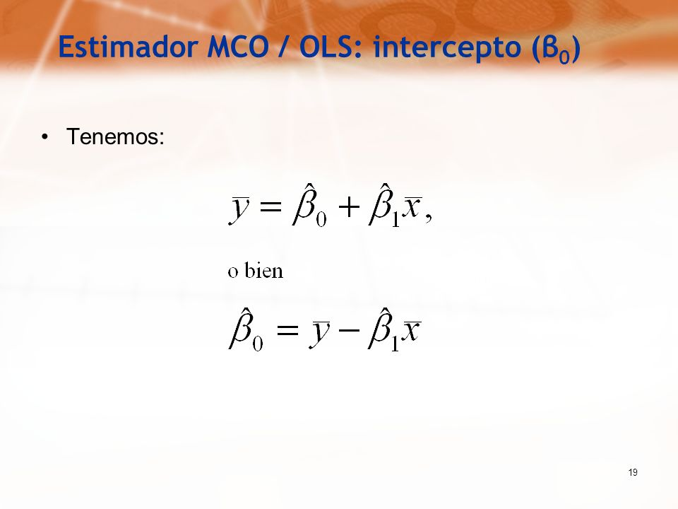 Estimador MCO / OLS: intercepto (β0)