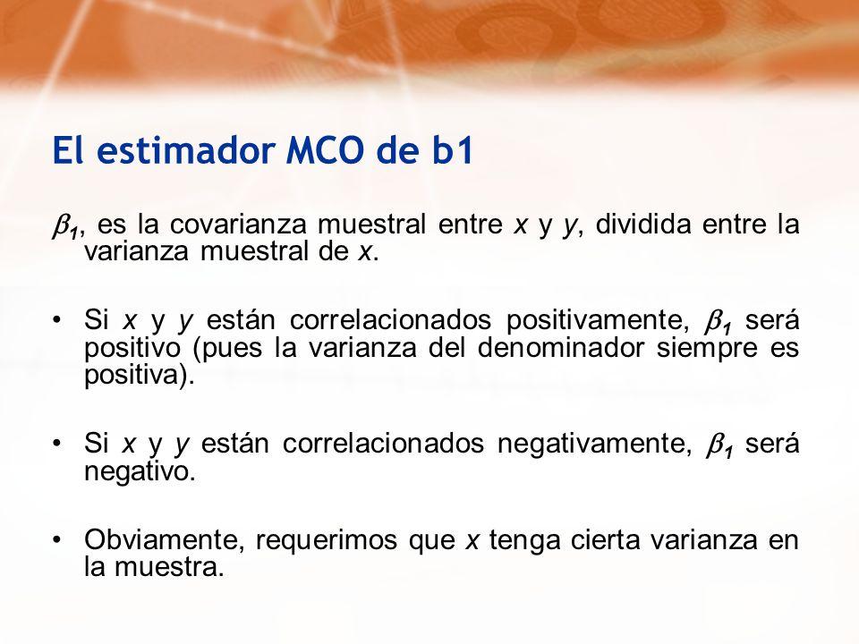 El estimador MCO de b1b1, es la covarianza muestral entre x y y, dividida entre la varianza muestral de x.