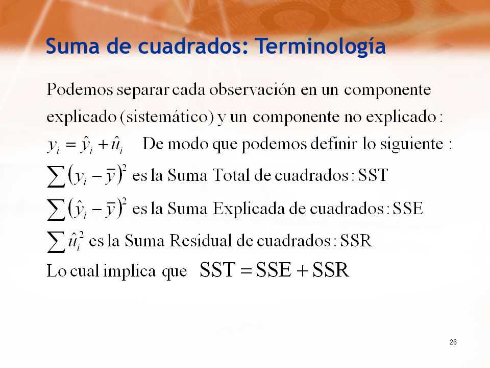 Suma de cuadrados: Terminología