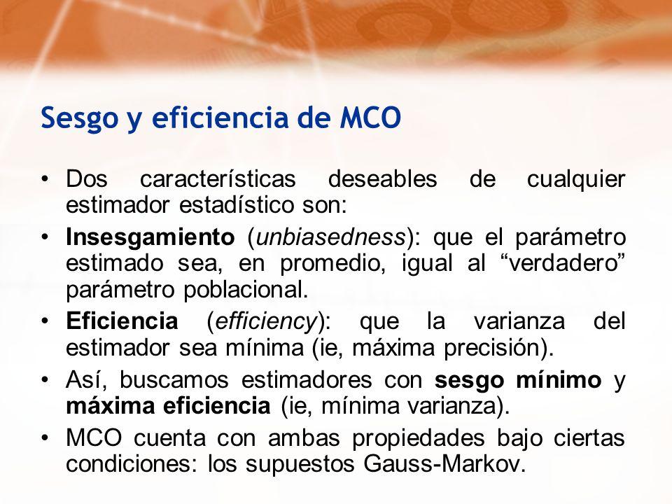 Sesgo y eficiencia de MCO