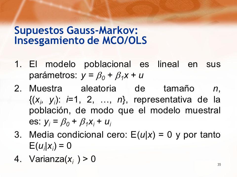 Supuestos Gauss-Markov: Insesgamiento de MCO/OLS