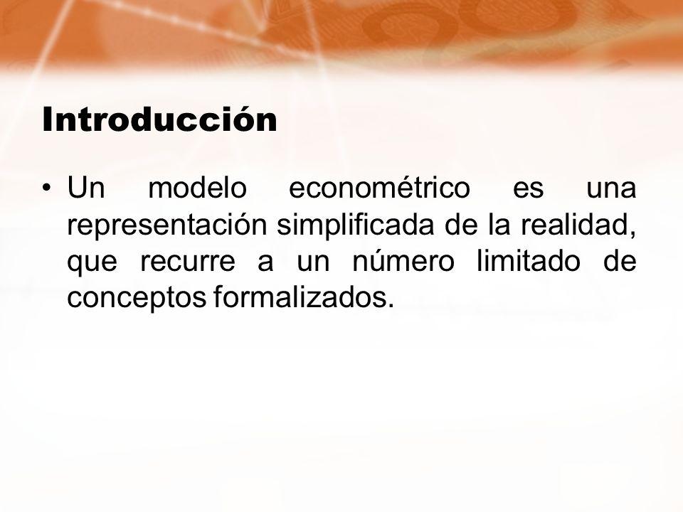 IntroducciónUn modelo econométrico es una representación simplificada de la realidad, que recurre a un número limitado de conceptos formalizados.