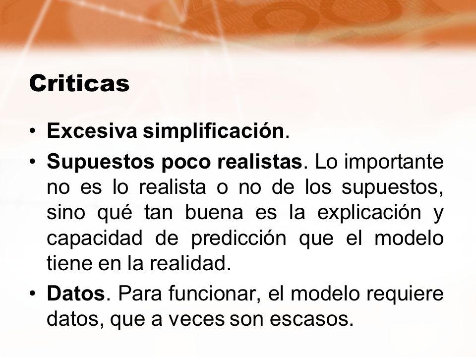 Criticas Excesiva simplificación.