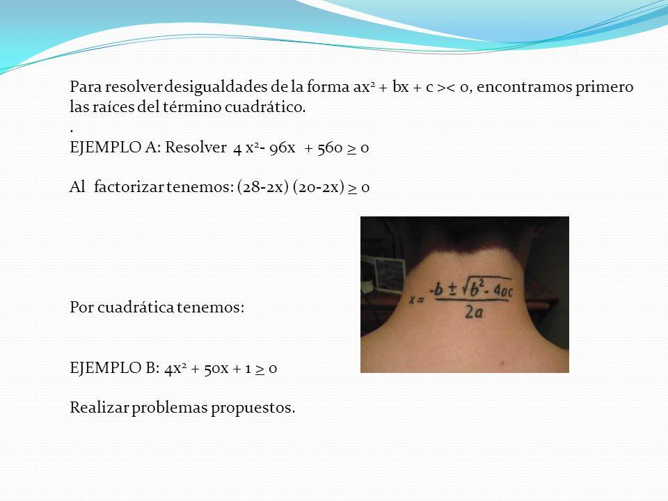 Para resolver desigualdades de la forma ax2 + bx + c >< 0, encontramos primero las raíces del término cuadrático.