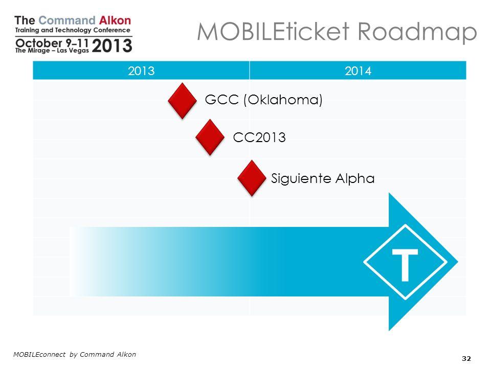 T MOBILEticket Roadmap GCC (Oklahoma) CC2013 Siguiente Alpha 2013 2014