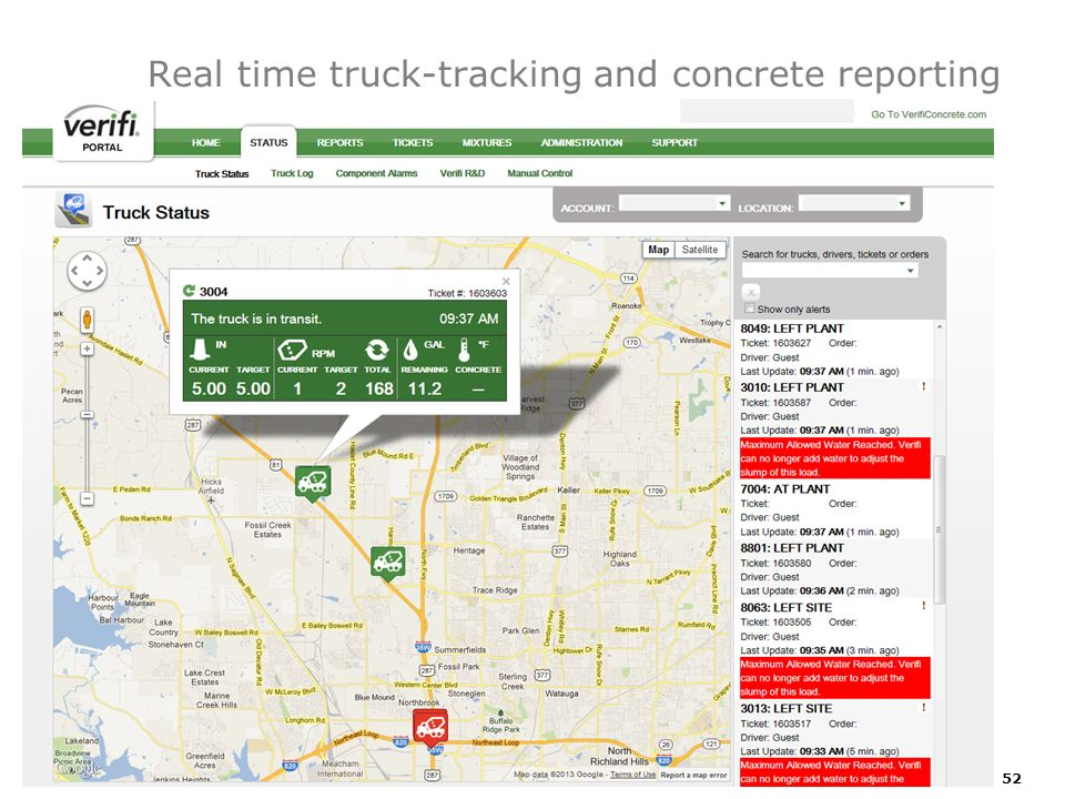 Real time truck-tracking and concrete reporting
