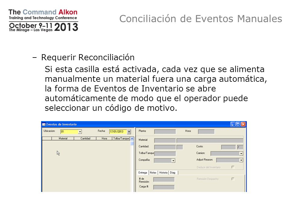 Conciliación de Eventos Manuales