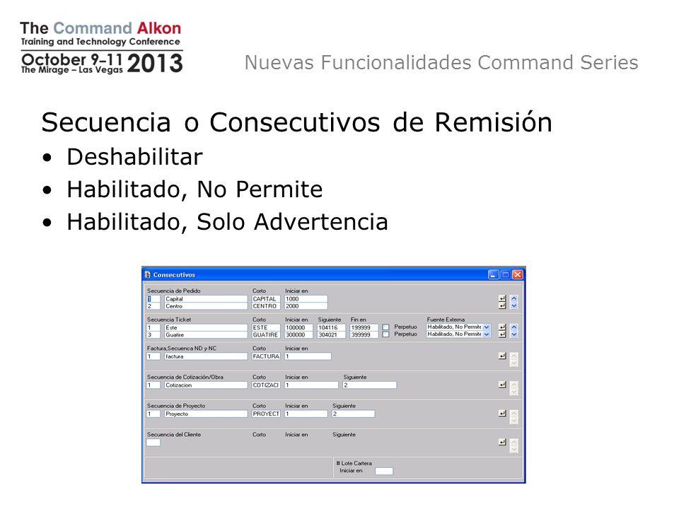 Nuevas Funcionalidades Command Series