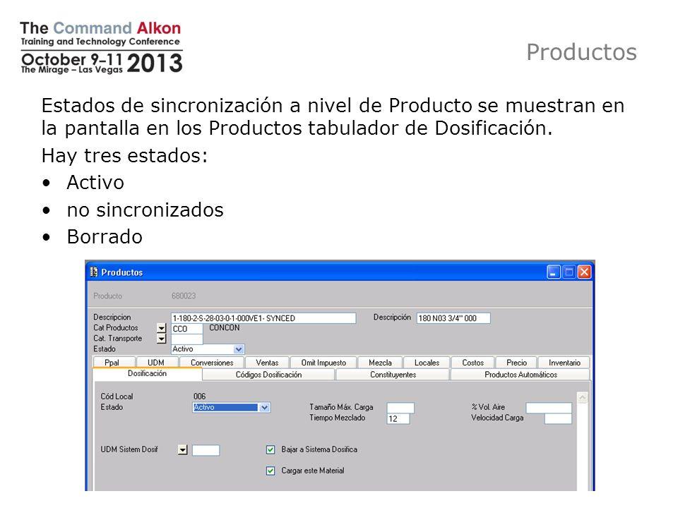 Productos Estados de sincronización a nivel de Producto se muestran en la pantalla en los Productos tabulador de Dosificación.