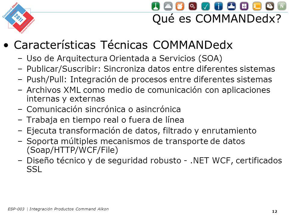 Características Técnicas COMMANDedx