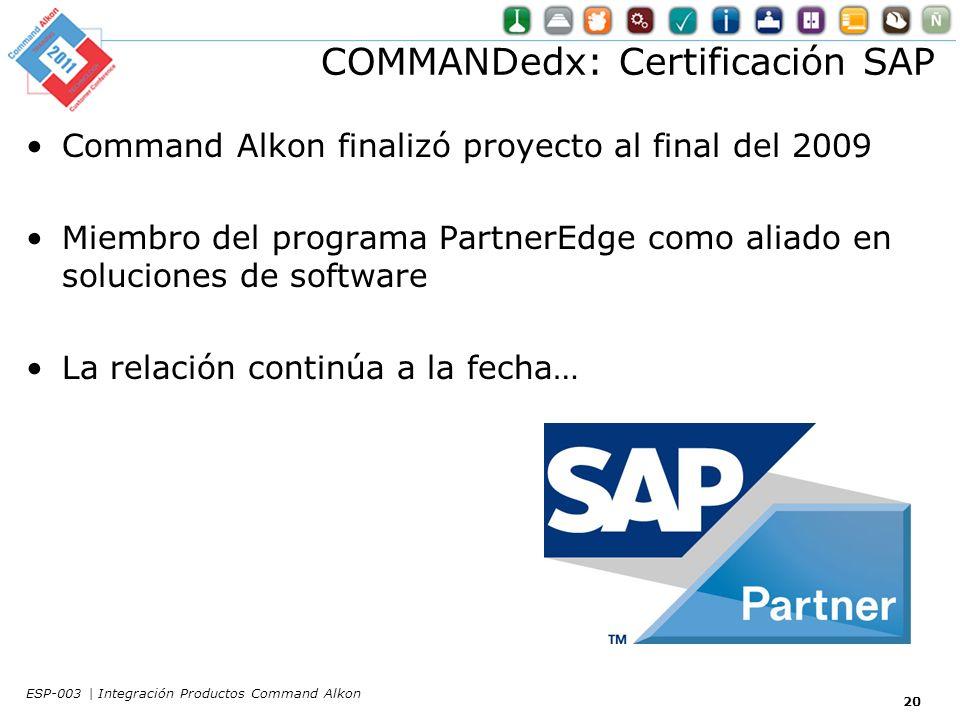COMMANDedx: Certificación SAP