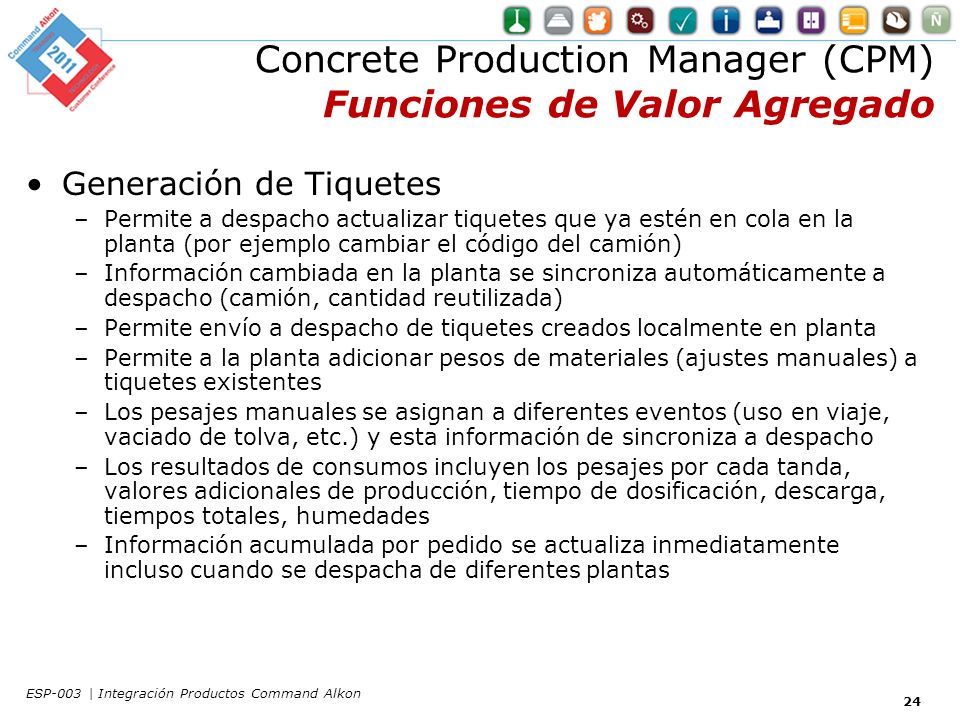 Concrete Production Manager (CPM) Funciones de Valor Agregado