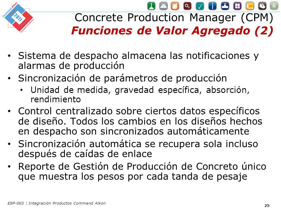 Concrete Production Manager (CPM) Funciones de Valor Agregado (2)