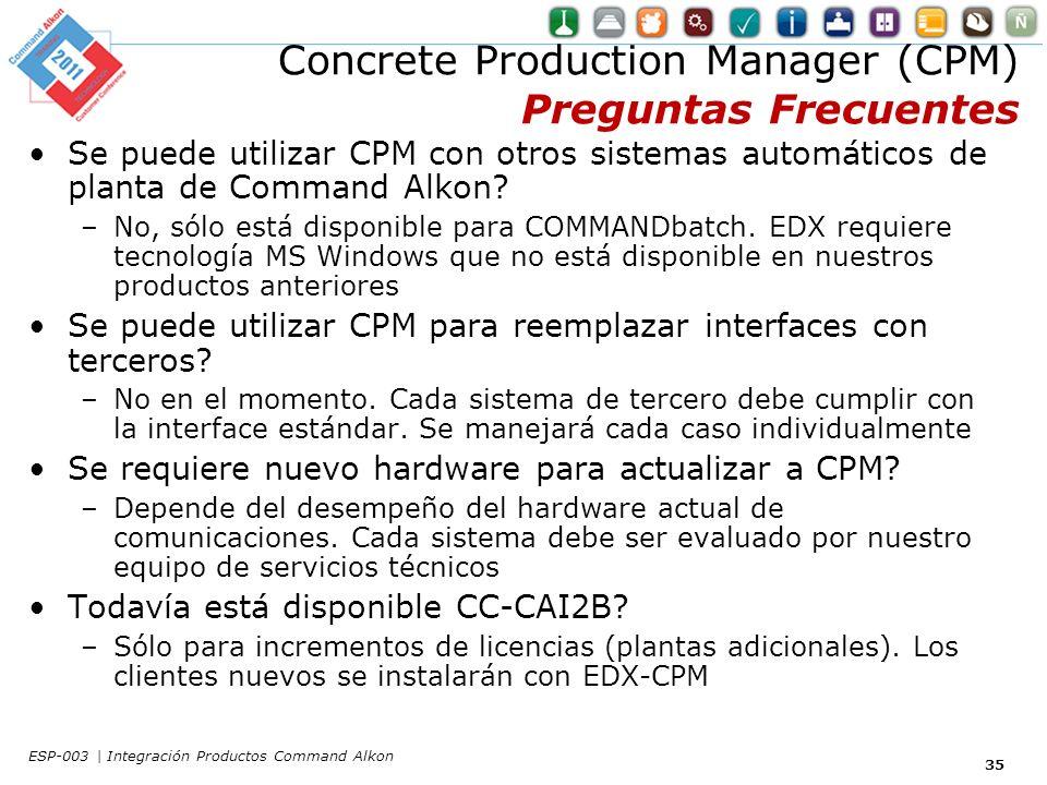 Concrete Production Manager (CPM) Preguntas Frecuentes