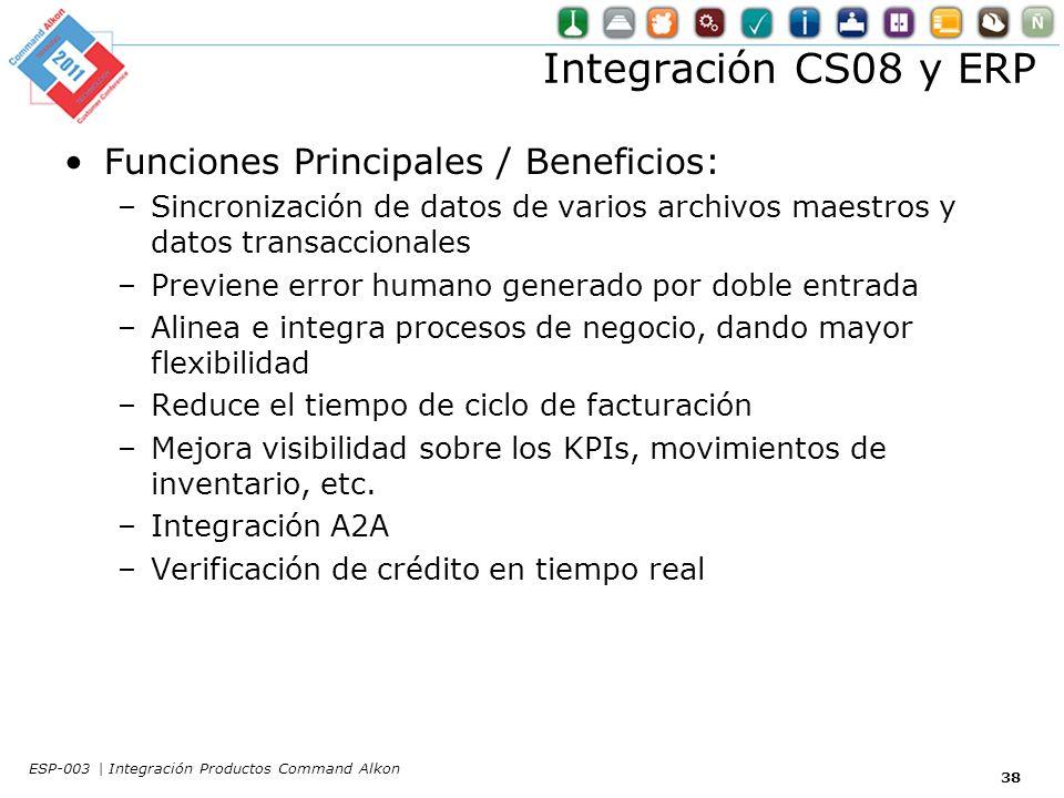 Integración CS08 y ERP Funciones Principales / Beneficios: