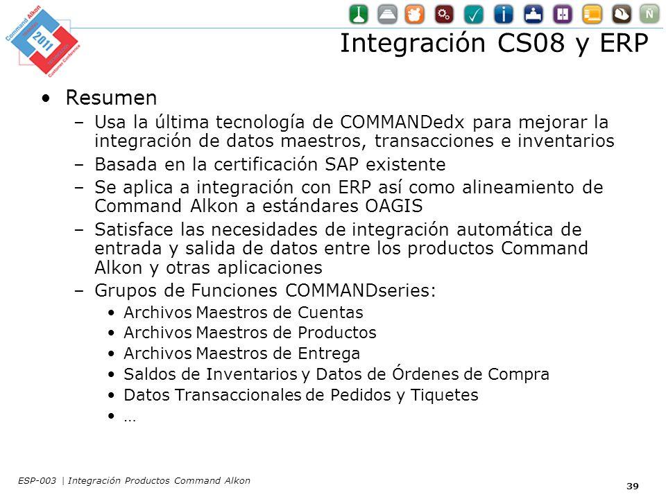 Integración CS08 y ERP Resumen