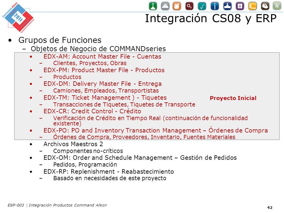 Integración CS08 y ERP Grupos de Funciones Proyecto Inicial