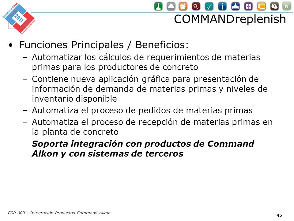 COMMANDreplenish Funciones Principales / Beneficios: