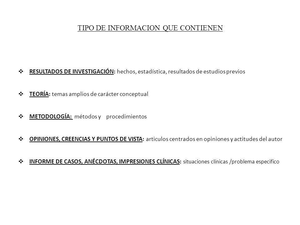 TIPO DE INFORMACION QUE CONTIENEN