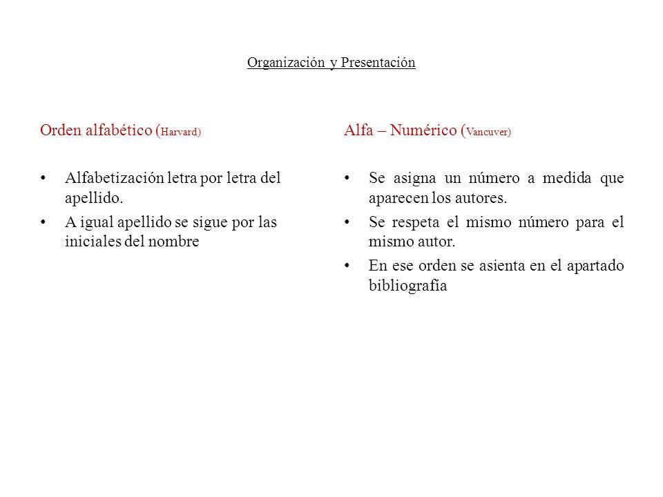 Organización y Presentación