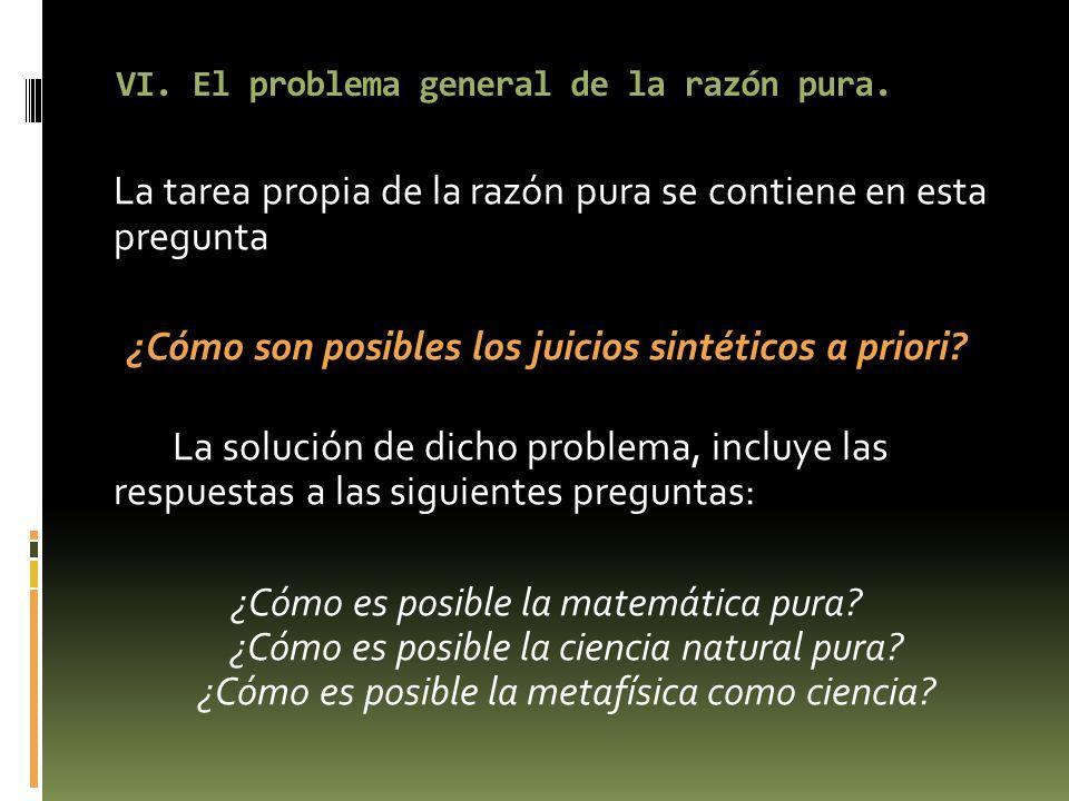 VI. El problema general de la razón pura.