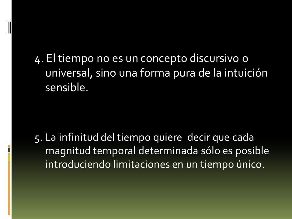4. El tiempo no es un concepto discursivo o universal, sino una forma pura de la intuición sensible.