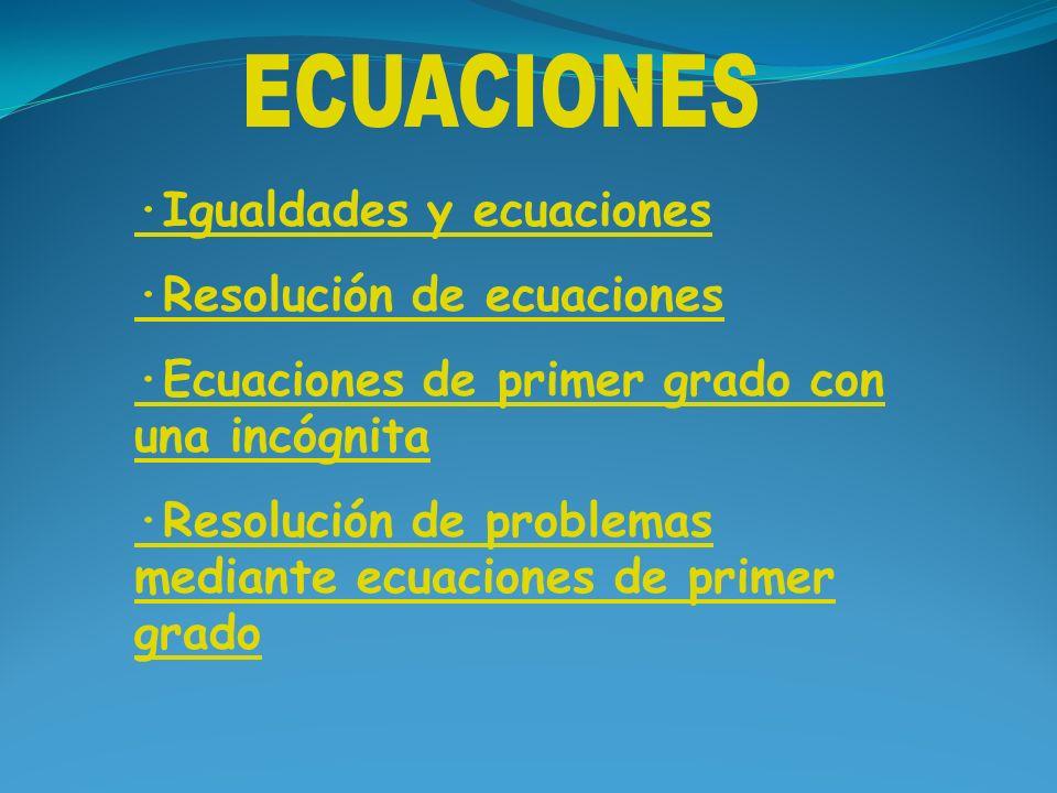 ECUACIONES ·Igualdades y ecuaciones ·Resolución de ecuaciones