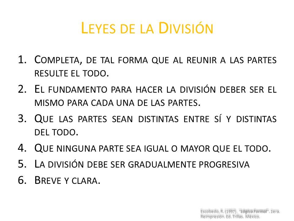 Leyes de la División Completa, de tal forma que al reunir a las partes resulte el todo.