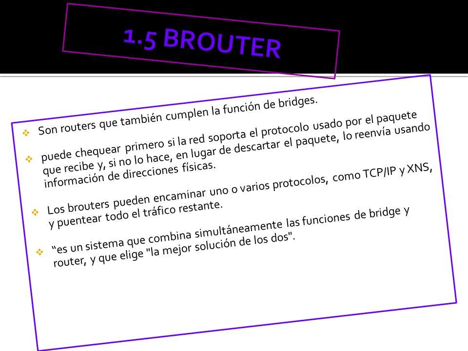 1.5 BROUTER Son routers que también cumplen la función de bridges.
