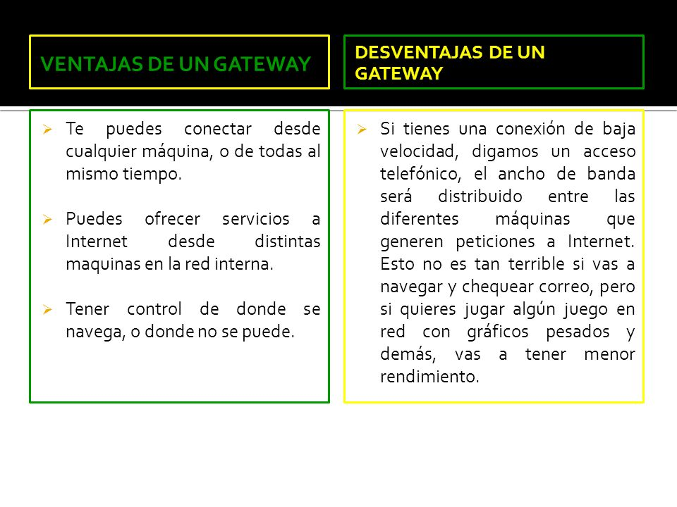 VENTAJAS DE UN GATEWAY DESVENTAJAS DE UN GATEWAY