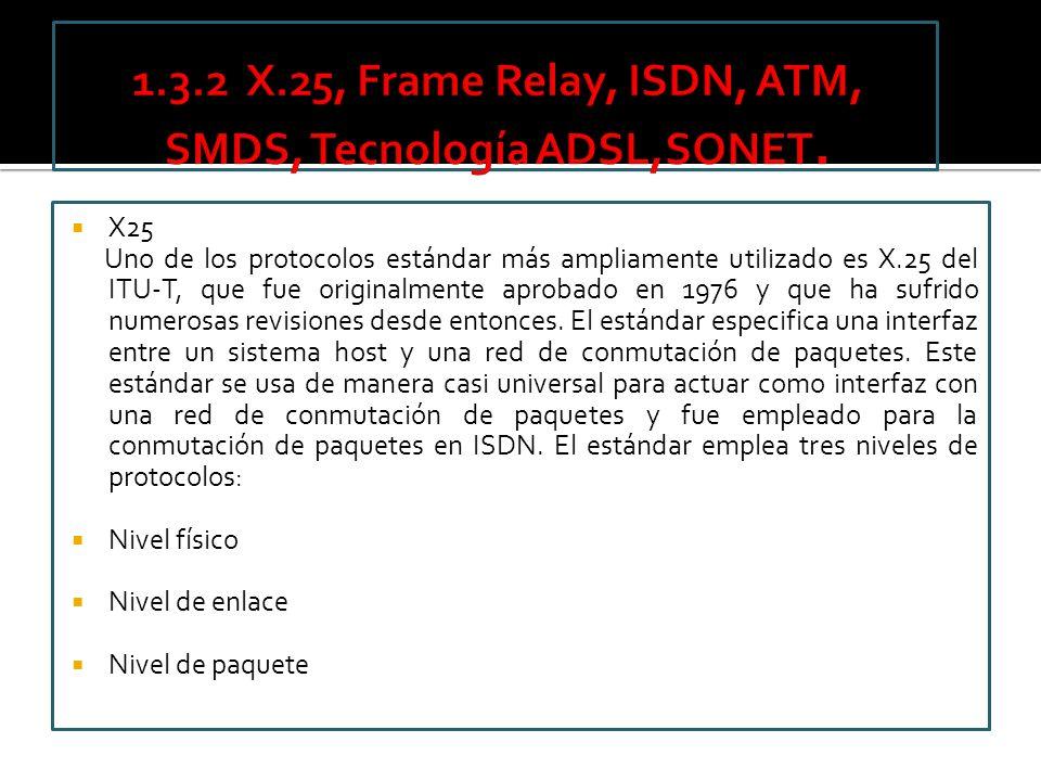 1.3.2 X.25, Frame Relay, ISDN, ATM, SMDS, Tecnología ADSL,SONET.