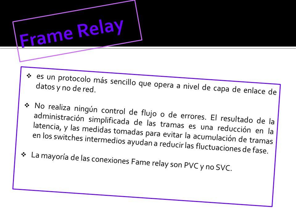 Frame Relay es un protocolo más sencillo que opera a nivel de capa de enlace de datos y no de red.