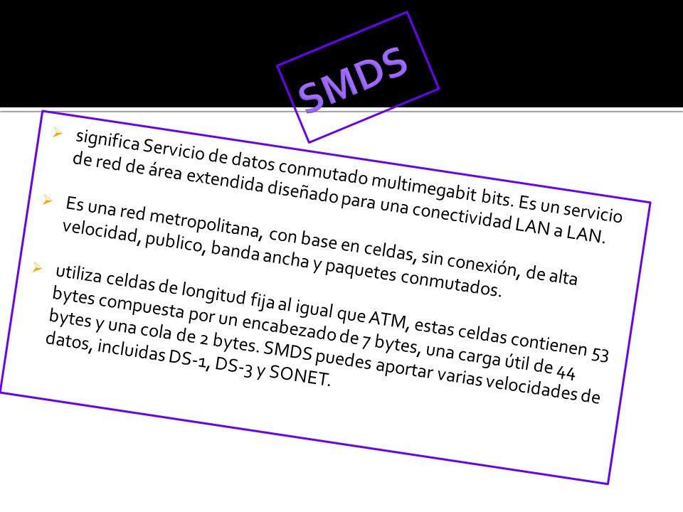 SMDS significa Servicio de datos conmutado multimegabit bits. Es un servicio de red de área extendida diseñado para una conectividad LAN a LAN.