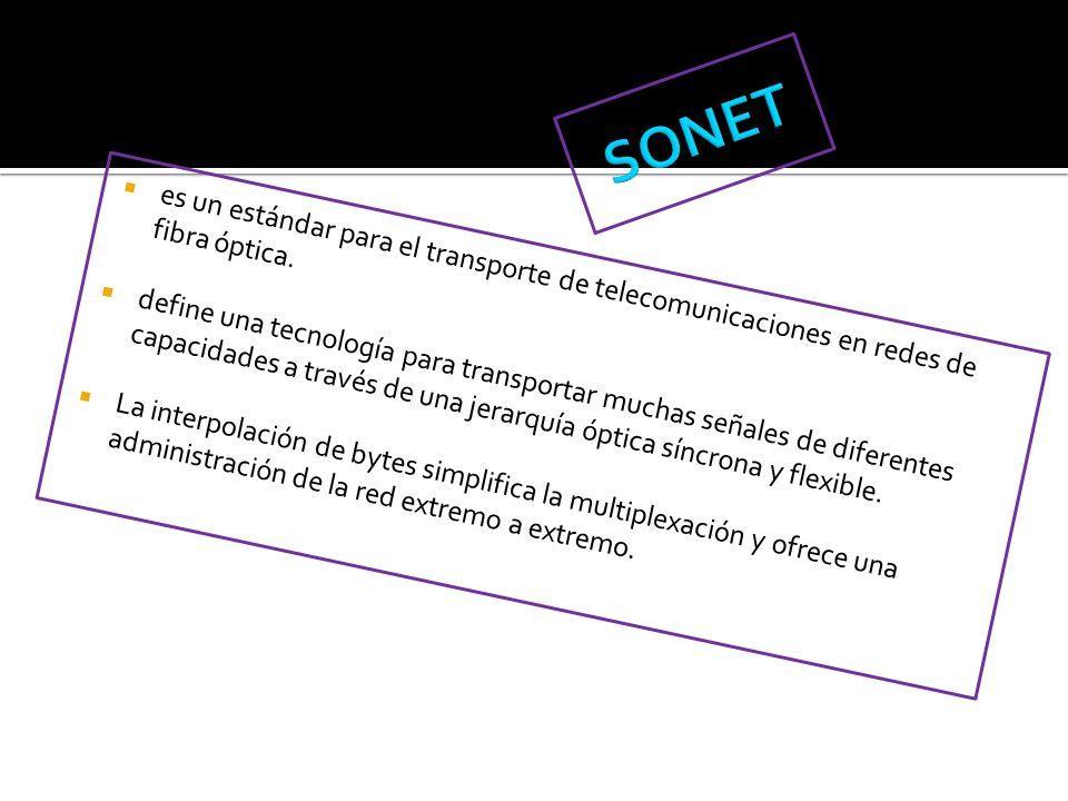 SONET es un estándar para el transporte de telecomunicaciones en redes de fibra óptica.