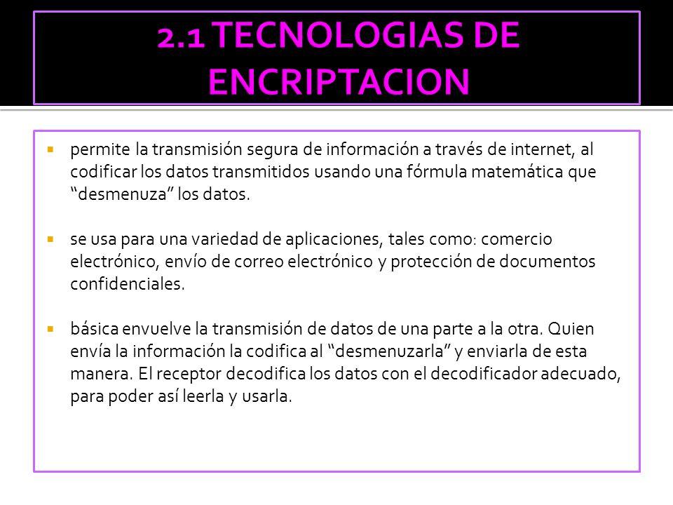 2.1 TECNOLOGIAS DE ENCRIPTACION