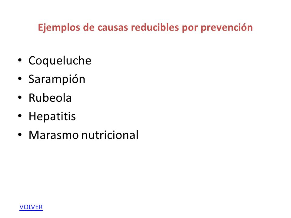 Ejemplos de causas reducibles por prevención