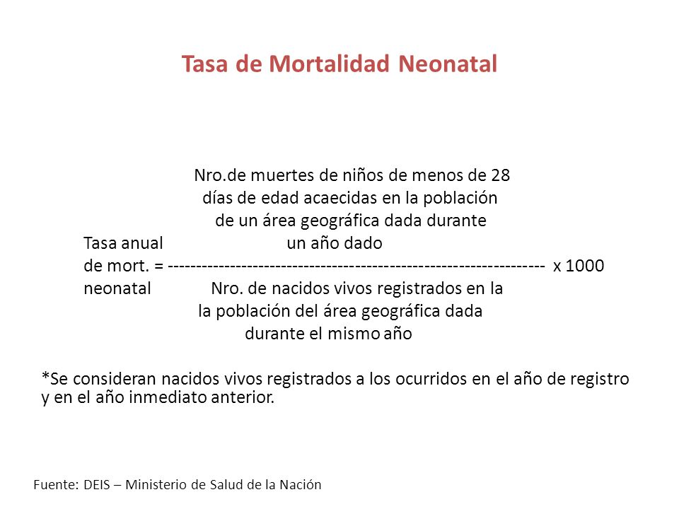 Tasa de Mortalidad Neonatal