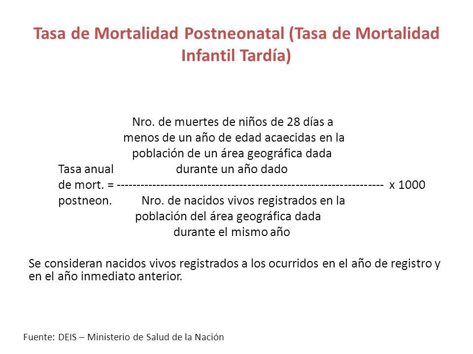 Tasa de Mortalidad Postneonatal (Tasa de Mortalidad Infantil Tardía)