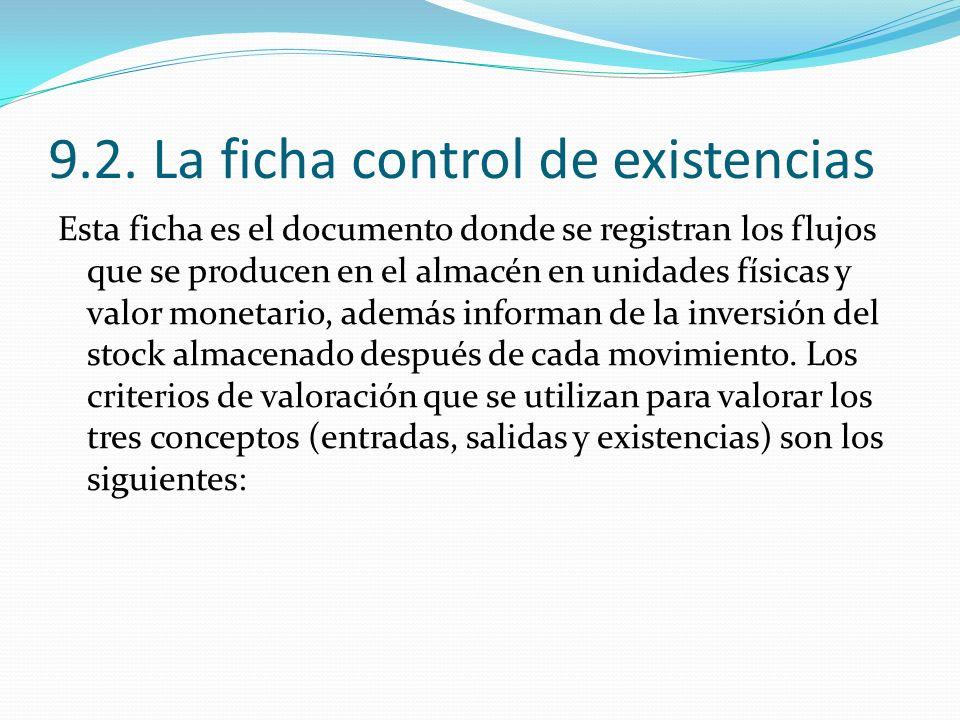 9.2. La ficha control de existencias
