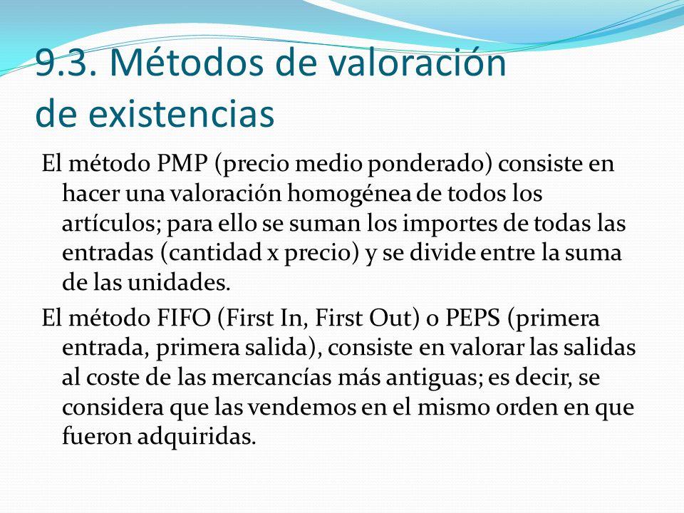 9.3. Métodos de valoración de existencias